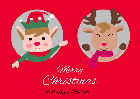 elf and reindeer are in circle hole with happiness with Christmas invitation card design,vector illustration