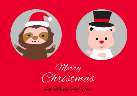 sloth sheep are in circle hole with happiness with Christmas invitation card design,vector illustration