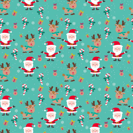 santa cluas reindeer stick candy gift are including in cute of merry christmas and happy new year seamless pattern with flat color design,vector illustration