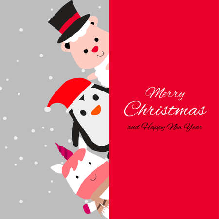 penguin sheep and unicorn are happy emotion with Christmas invitation card design,vector illustration
