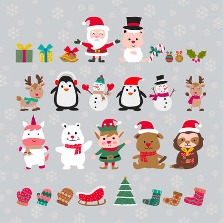 cute of merry christmas and happy new year elements with flat color design,vector illustration Иллюстрация