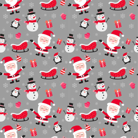 santa claus penguin snowman and gift are including in cute of merry christmas and happy new year seamless pattern with flat color design,vector illustration