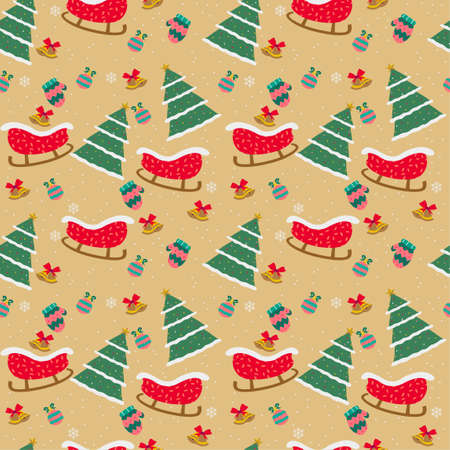xmas tree sleigh gift and glove are  including in cute of merry christmas and happy new year seamless pattern with flat color design,vector illustration