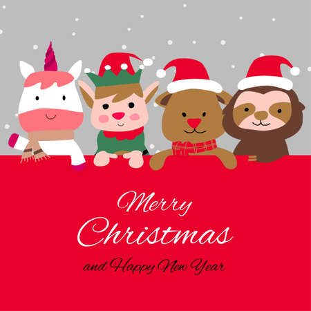 Snowman penguin and santa cluas are happy emotion with Christmas invitation card design,vector illustration