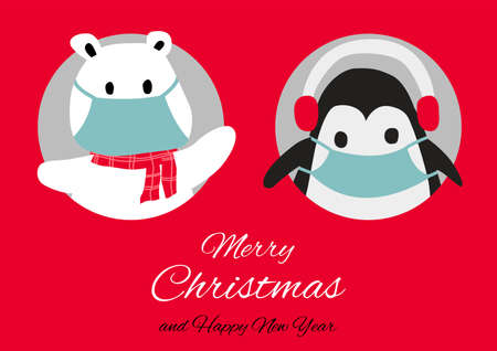 polar bear and penguin are in circle hole and wear masks with happiness with Christmas invitation card design,vector illustration