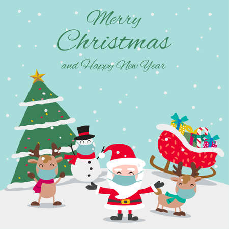 Santa reindeers and snowman wear masks and enjoy with Christmas night, festival of happiness of everybody,vector illustration