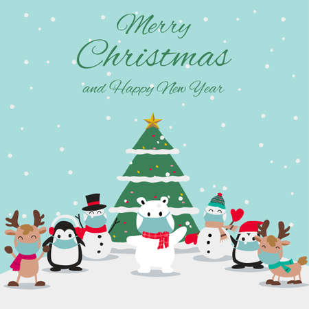 animals and snowman wear masks and enjoy with Christmas night, festival of happiness of everybody,vector illustration Иллюстрация