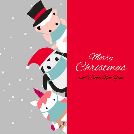 penguin sheep and unicorn are happy emotion and wear masks with Christmas invitation card design,vector illustration
