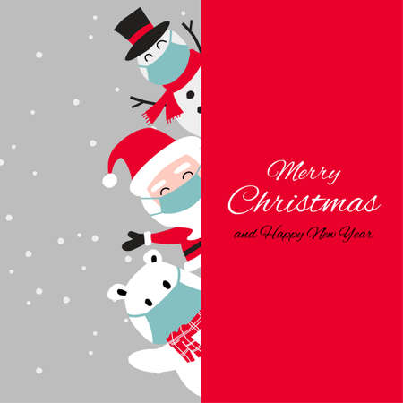 Snowman polar bear and santa cluas are happy emotion and wear masks with Christmas invitation card design,vector illustration
