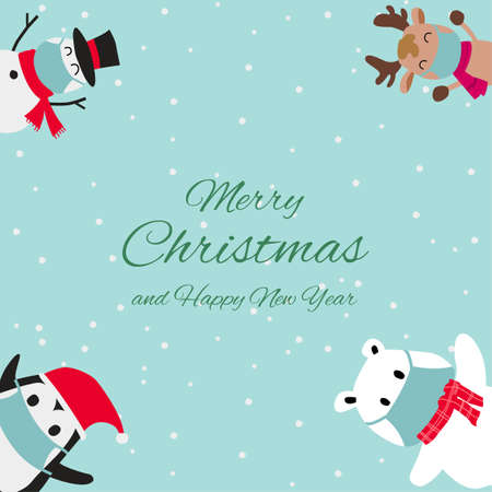Snowman reindeer penguin and polar bear are happy emotion and wear masks in Christmas invitation card design,vector illustration