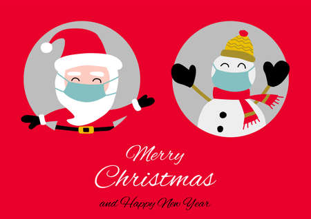 Snowman and santa Claus are in circle hole  and wear maskswith happiness with Christmas invitation card design,vector illustration
