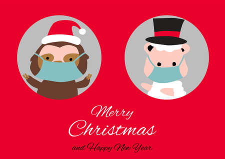 sloth sheep are in circle hole and wear masks with happiness with Christmas invitation card design,vector illustration