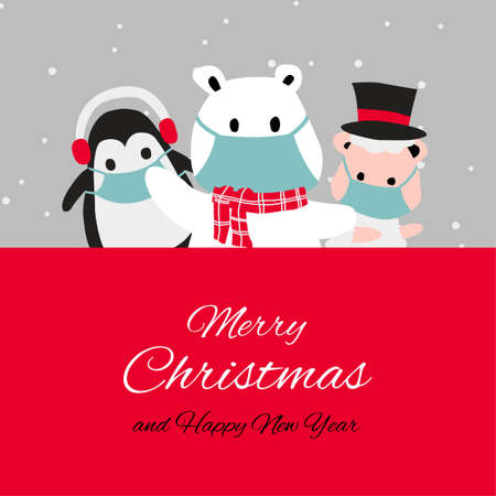 penguin polar bear and puppy are happy emotion and wear masks with Christmas invitation card design,vector illustration