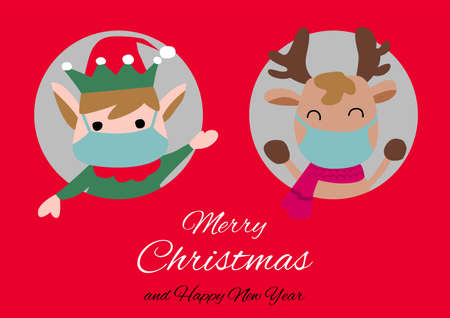 elf and reindeer are in circle hole and wear masks with happiness with Christmas invitation card design,vector illustration