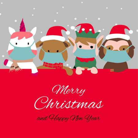 Snowman penguin and santa cluas are happy emotion and wear masks with Christmas invitation card design,vector illustration