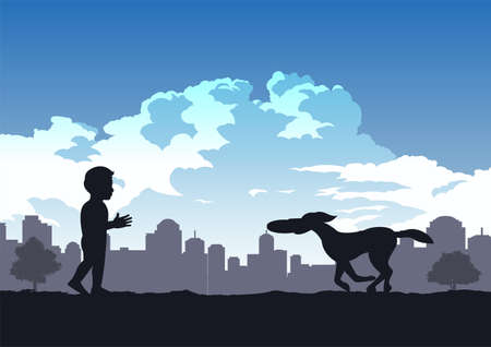 boys enjoy with playing disk with dog in the park,vector illustration
