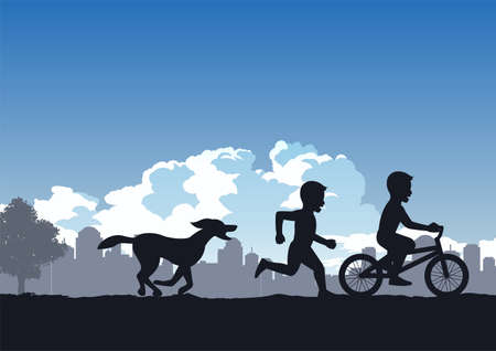 boys enjoy with run and cycling compete with dog ,vector illustration Иллюстрация