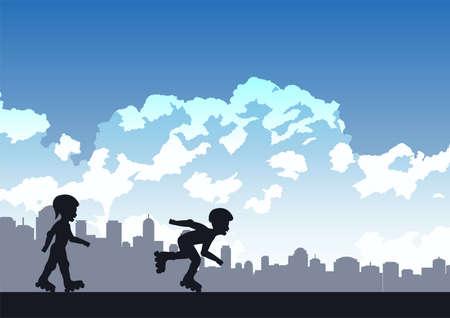 children enjoy with playing roller skate ,vector illustration