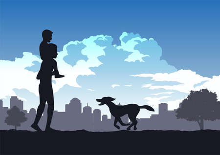 boys sit on his dad shoulder while dog run coming,vector illustration