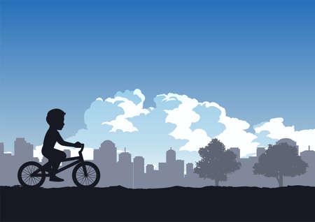 boys enjoy with cycling in the park,vector illustration