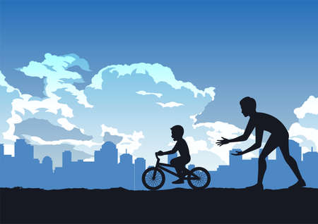 silhouette design of father teach son to ride bicycle,vector illustration Иллюстрация