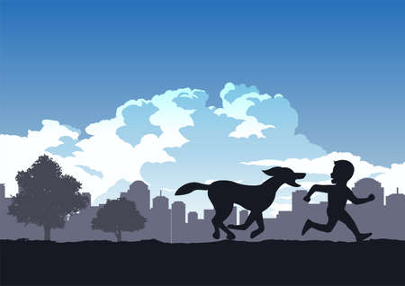 boys enjoy with run compete his dog in the park,vector illustration