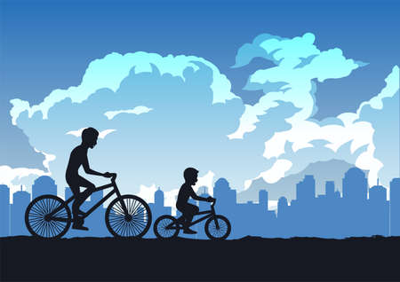 silhouette design of father and son cycling in the park,vector illustration Иллюстрация