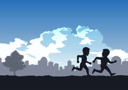 boys enjoy with running compete in the park,vector illustration