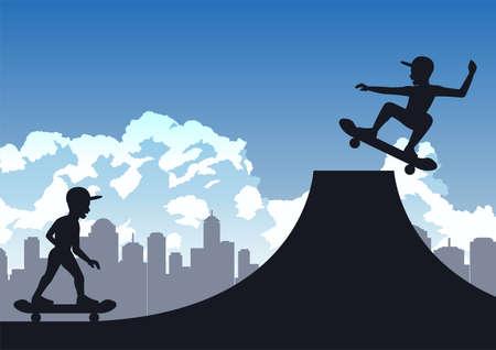boys enjoy with playing skateboard ,vector illustration