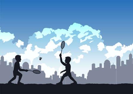 boys enjoy with playing badminton,vector illustration Иллюстрация