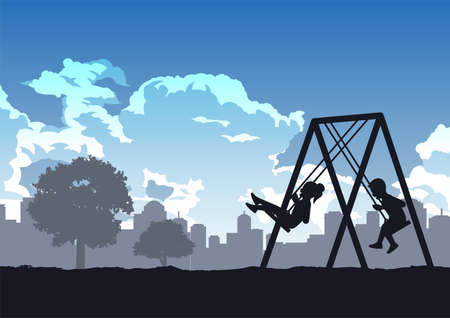 children enjoy with playing swing ,vector illustration