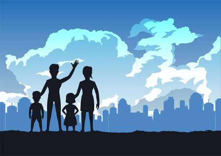 silhouette design of warm family standing in park,vector illustration Иллюстрация