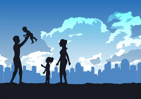 silhouette design of happy and warm family,vector illustration