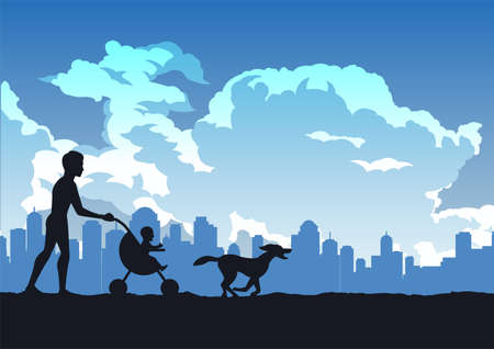 silhouette design of father carry  child in baby stroller,vector illustration
