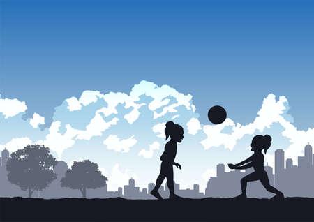 girls enjoy with playing volleyball ,vector illustration Иллюстрация
