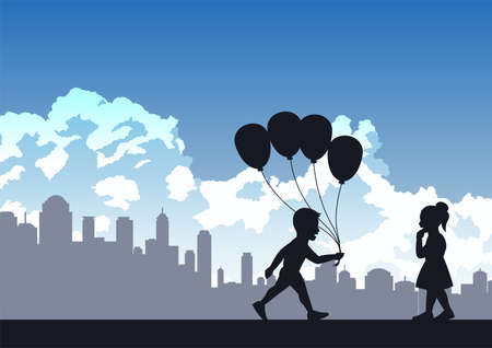 boy is going to give balloon to girl ,vector illustration Иллюстрация