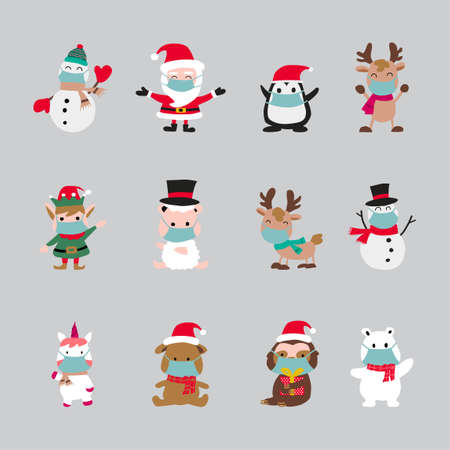 cute of merry christmas and happy new year elements that wear masks,vector illustration