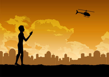 silhouette design of man is playing rc helicopter,vector illustration Иллюстрация