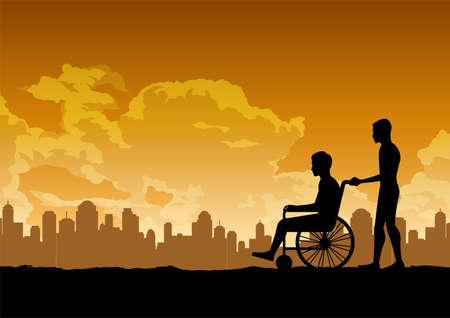 silhouette design of son carry his father that sit in the wheelchair ,vector illustration
