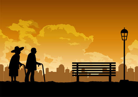 silhouette design of two old couple walk in the park ,vector illustration Иллюстрация