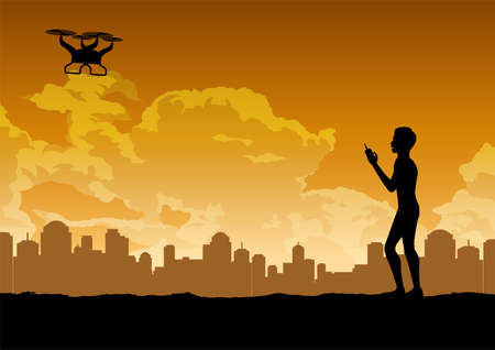silhouette design of man is playing drone,vector illustration