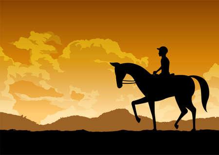 silhouette design of man is riding horse,vector illustration Иллюстрация