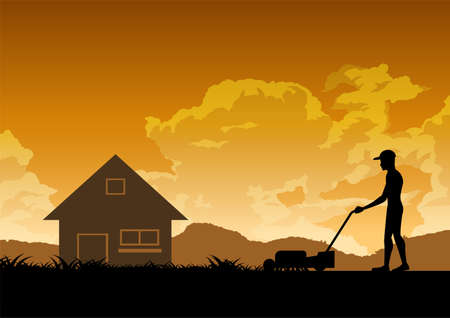 silhouette design of man is mowing lawn,vector illustration