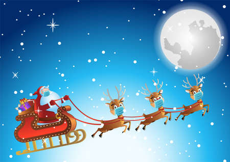 santa claus and reindeer wear mask and fly in sky at xmas night to send gift to people,vector illustration