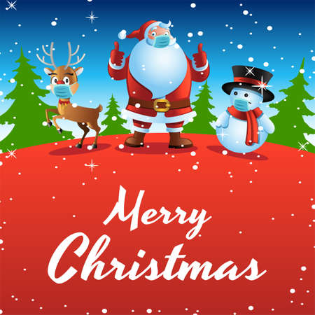 santa,deer and snowman wear mask are being happy with xmas festival,vector illustration 向量圖像