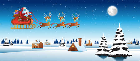 santa claus and reindeer wear mask and fly over village to send gift to everyone,vector illustration