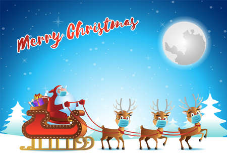 santa claus and reindeer wear mask and begin to fly to send gift at xmas night,vector illustration 向量圖像