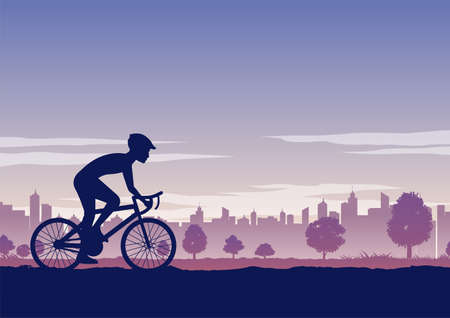 Silhouette of activities of people exercising with bike pass the park