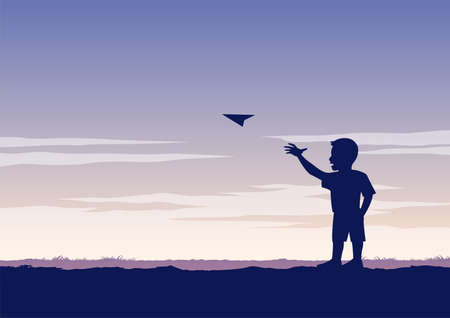 silhouette design of boy play paper plane,vector illustration