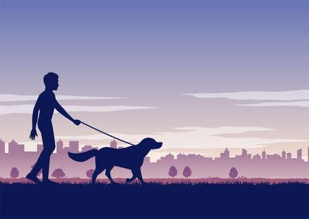 silhouette design of man walk the dog,vector illustration 向量圖像